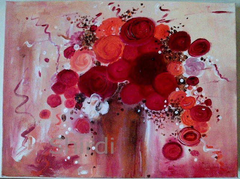 Abstrakte blumen acrylmalerei 30x40x4cm acryln gel for Acrylbilder ideen