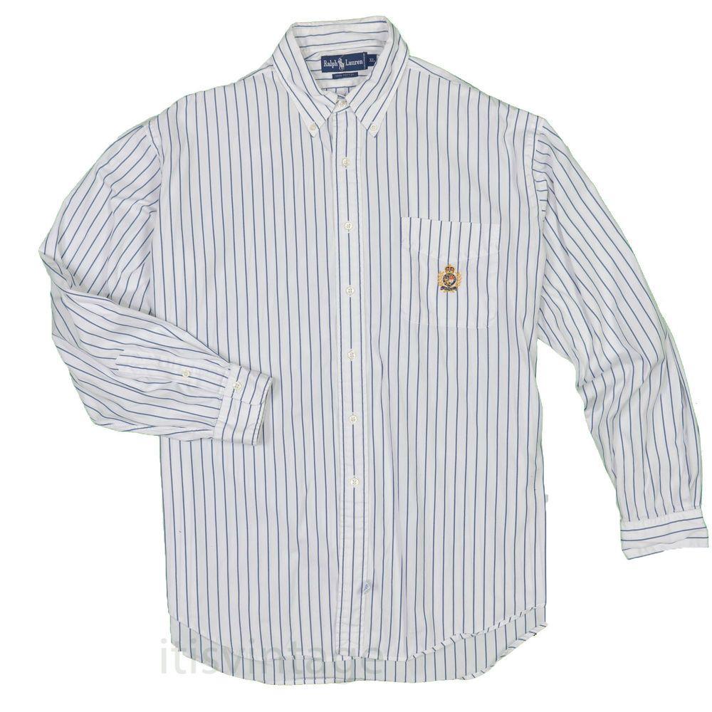 5953a766 90's Polo Ralph Lauren Crest Shirt XL Vintage Button Down Striped Long  Sleeve #PoloRalphLauren #polo #lolife #lo #itisvintage #ralphlauren