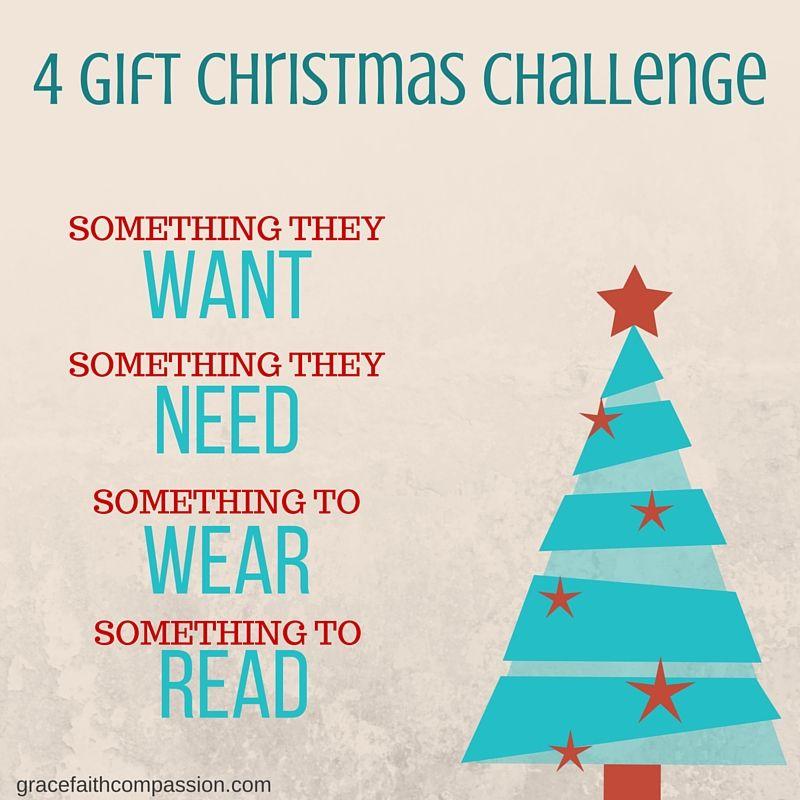 4 Gift Christmas Challenge Free Printable Christmas Challenge Christmas Gift List Affordable Christmas Gifts