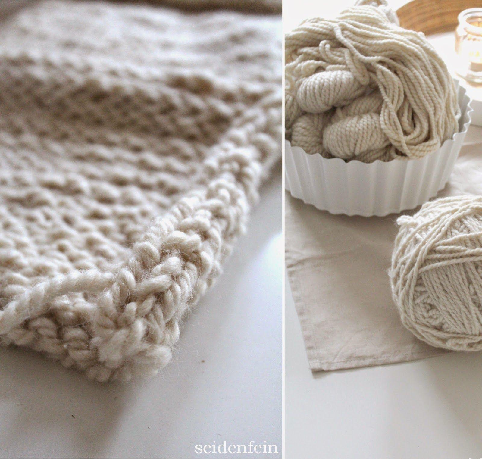 seidenfeins Dekoblog : Maschenprobe Strickdecke * mesh test : knitted blanket
