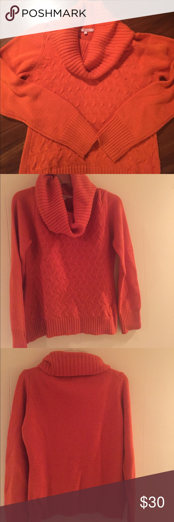 Italian Wool Blend Orange Cowl Neck Sweater Italian Deep Orange Cowl