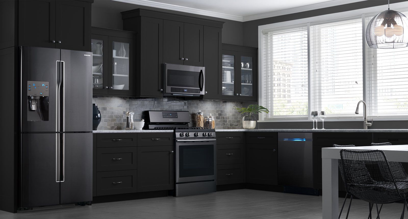 Black Metal Kitchen Cabinets Rohl Faucet These Samsung Stainless Steel Appliances Look