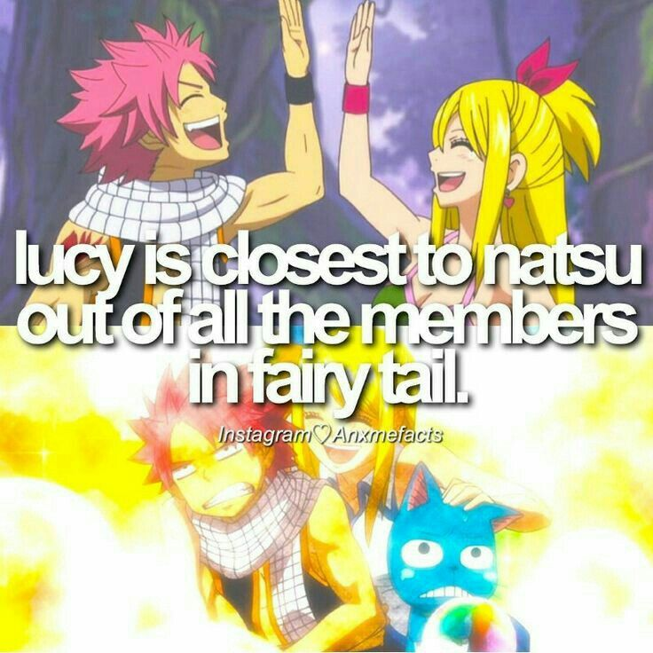 Lucy is closest to Natsu out of all the members in Fairy Tail, Natsu, Lucy, Happy, text, fact; Fairy Tail