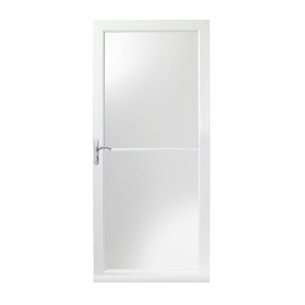 Andersen 32 In X 80 In 3000 Series White Left Hand Self Storing Easy Install Aluminum Storm Door With Nickel Hardware 3snezl32wh The Home Depot Aluminum Storm Doors Storm Door Oil Rubbed Bronze Hardware