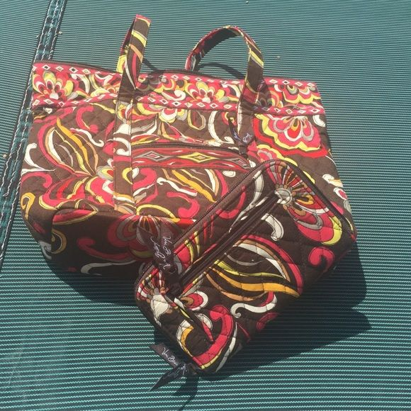 New without Tags Vera Bradley Tote & Wallet Set Beautiful detail and color! dark brown, yellow, mustard yellow, burgundy, cream & tan colored .. Vera Bradley Bags Totes