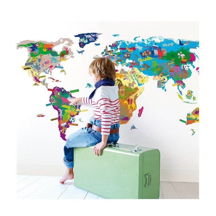Play and learn a big world map on which your child can put