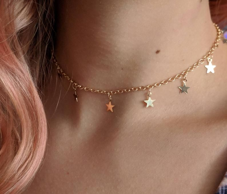 Photo of Star Choker, Jewelry, Dainty, Delicate, Spring Birthday Gift for Her, Boho, Minimal, Constellation, Star Pendant, Star Necklace, Witch