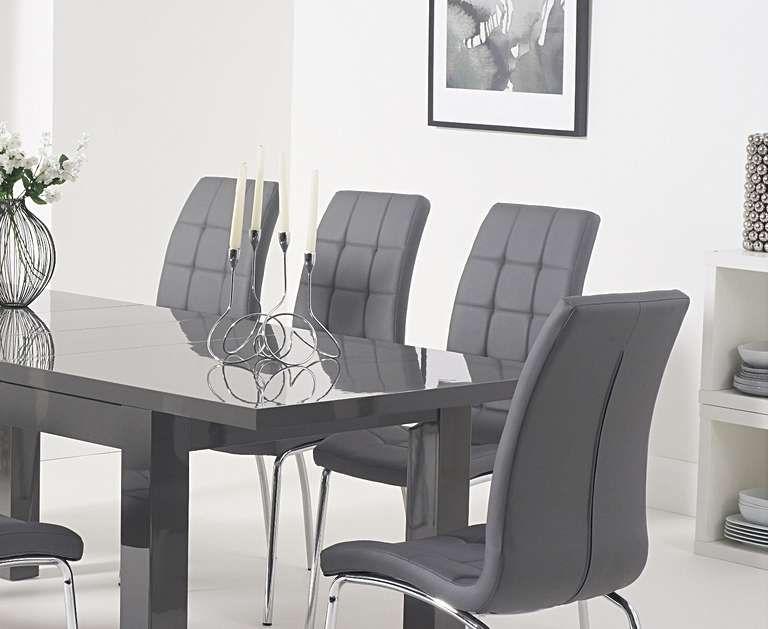 Atlanta Dark Grey Gloss 160 220cm Extending Dining Table