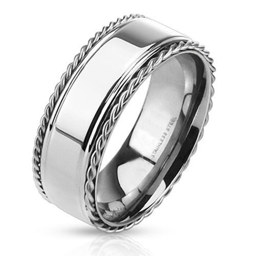 The Baron Stainless Steel Ring With Polished Center Band And Twisted Rope Edges Stainless Steel Rings Mens Stainless Steel Rings White Gold Wedding Ring Set