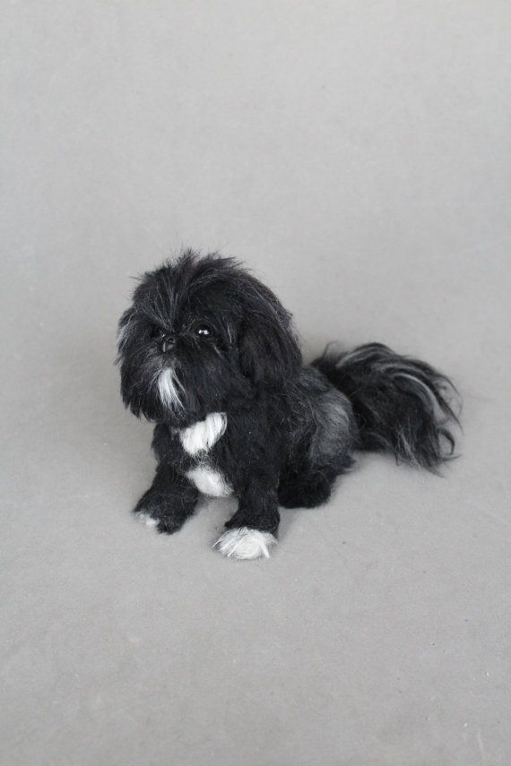 Custom Order Needle Felted Pet Portrait Black Shih Tzu By Arteanry