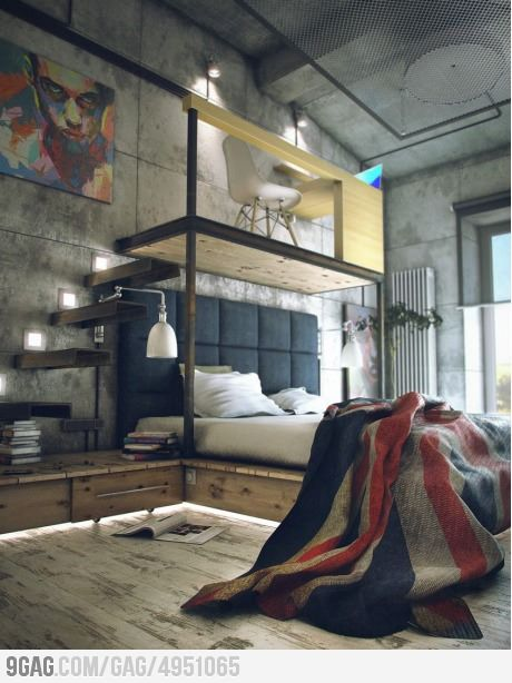 Pin By His Her Design Co On Man Cave Loft Inspiration Industrial Bedroom Design Loft Style Living