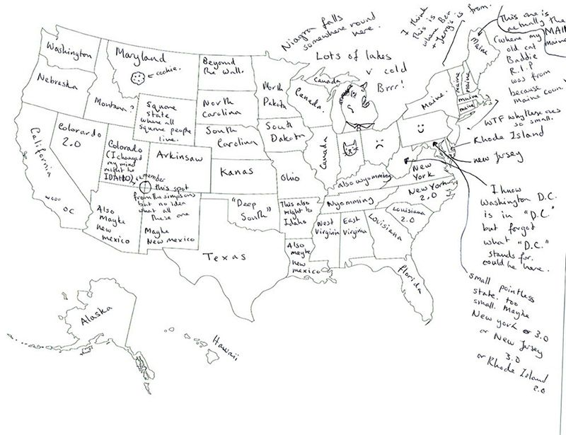 British people naming US states. I like the random giant cookie in ...