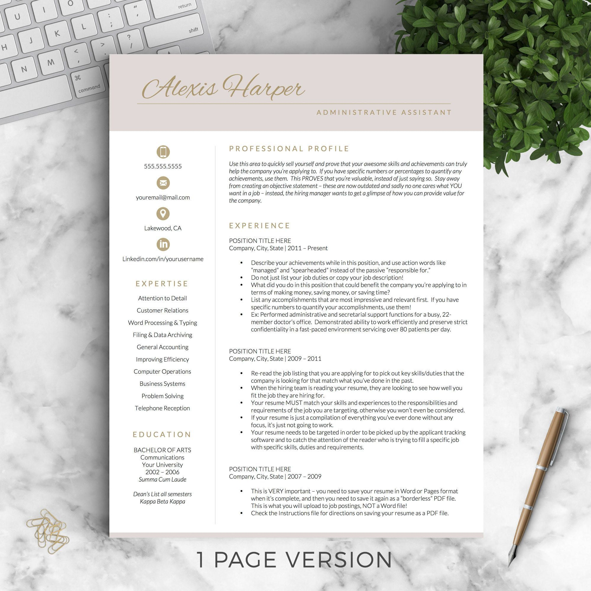 Administrative resume template for word pages modern