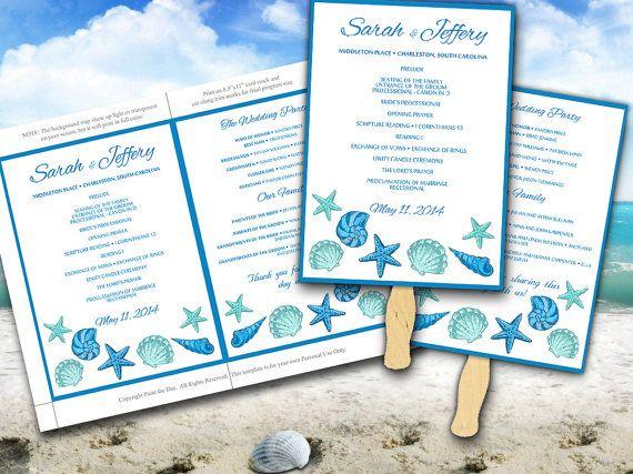Beach Wedding Fan Microsoft Word Template Blue Lagoon Teal Turquoise Seashells Bordered Ceremony P Vabeachwedding Fans Print Your Own