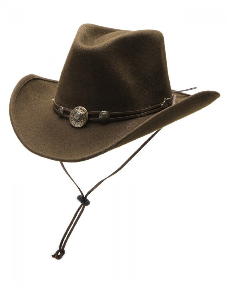 35234f0722947 Men and women brown woolfelt cowboy hat with stampede string for horse  riding