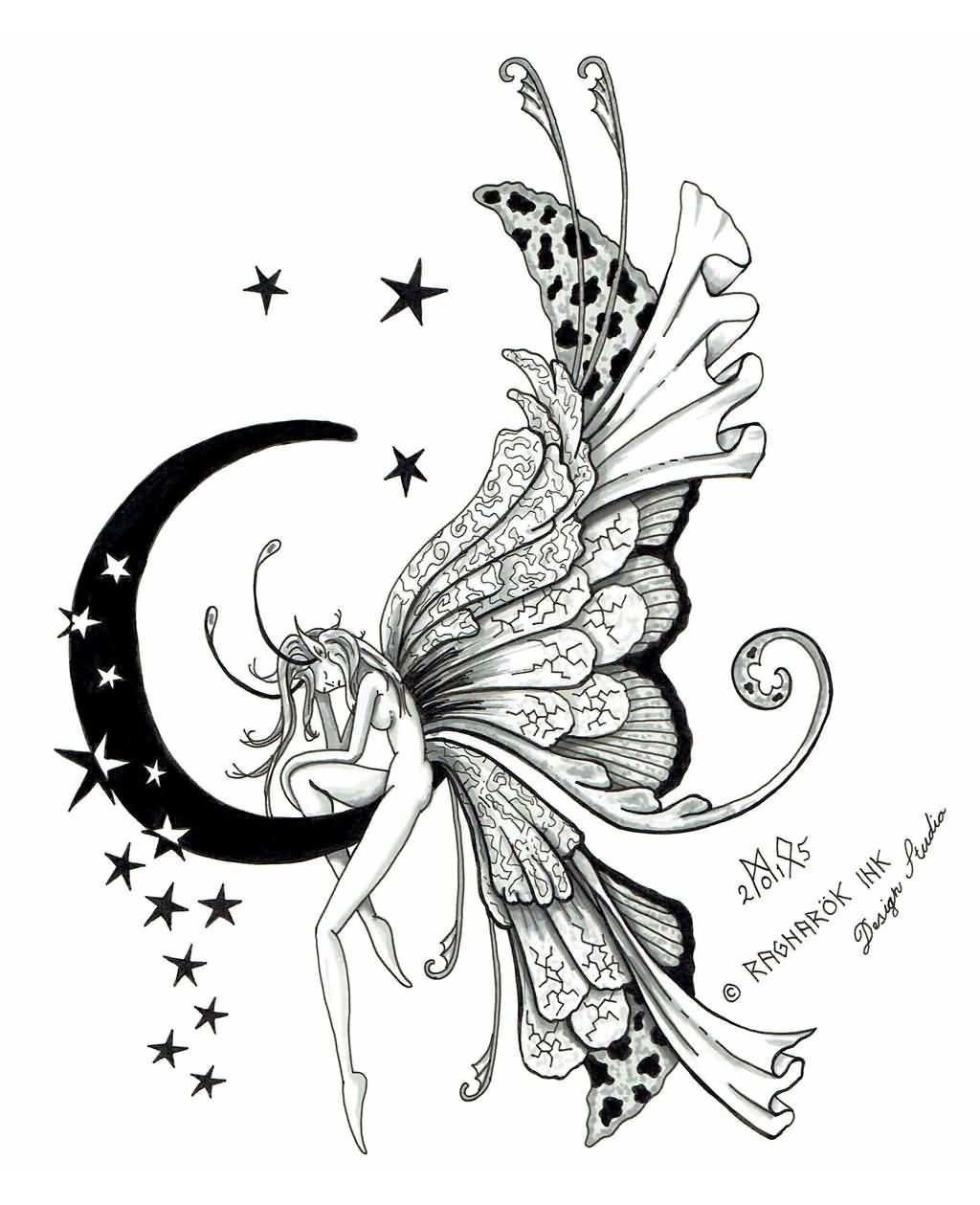 Attractive Fairy On Half Moon With Stars Tattoo Design By Raknarok