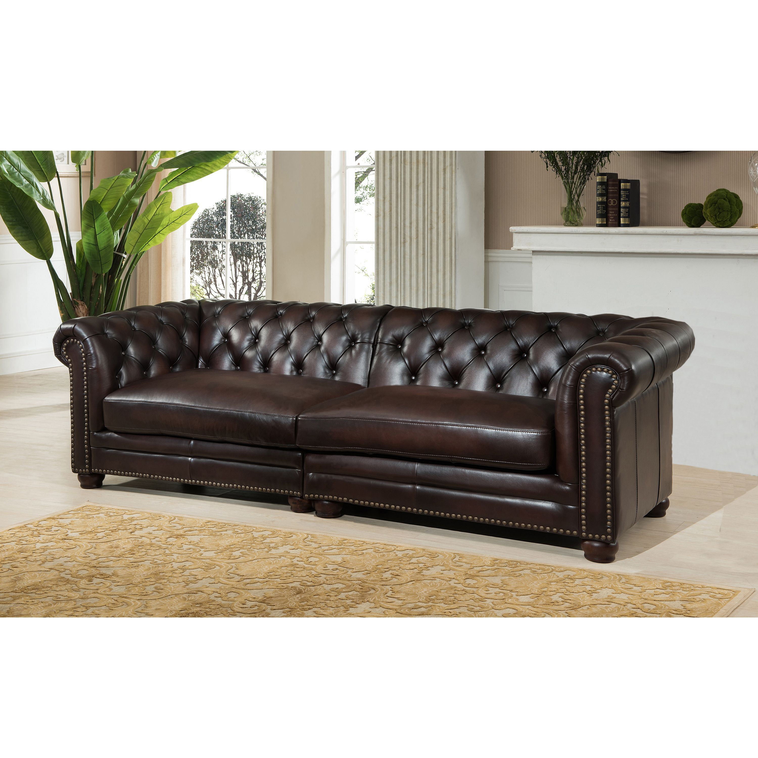 Best Dax Premium Top Grain Brown Tufted Leather 100 Inch 400 x 300