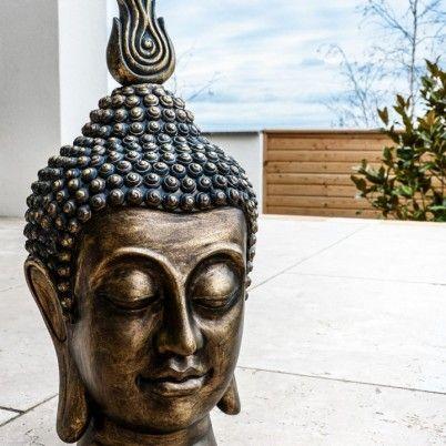 buddha kopf bronze buddha kopf figuren buddha deko asiatische einrichtung pinterest. Black Bedroom Furniture Sets. Home Design Ideas