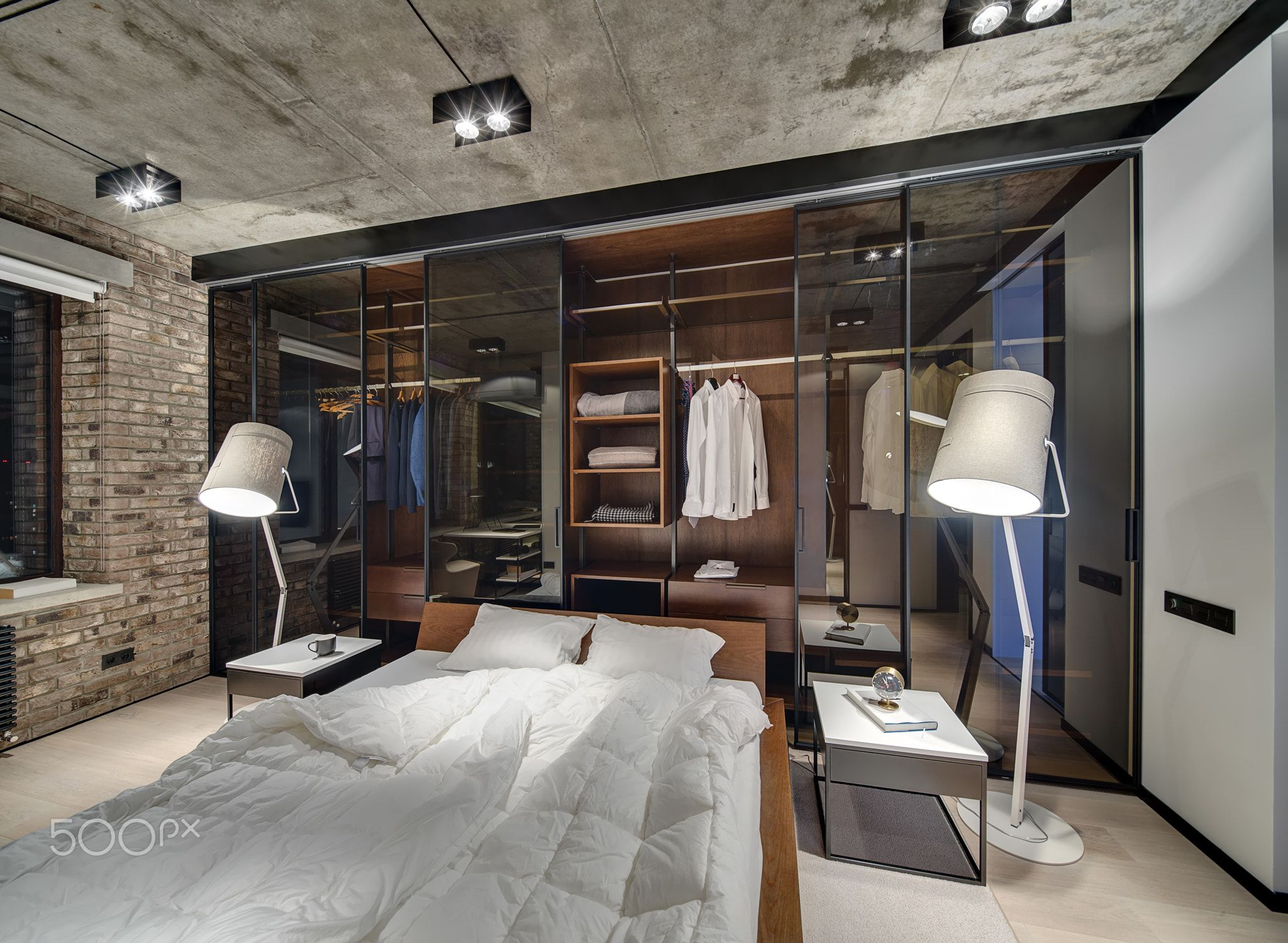 Bedroom In Loft Style Loft Style Bedroom With Brick Wall And