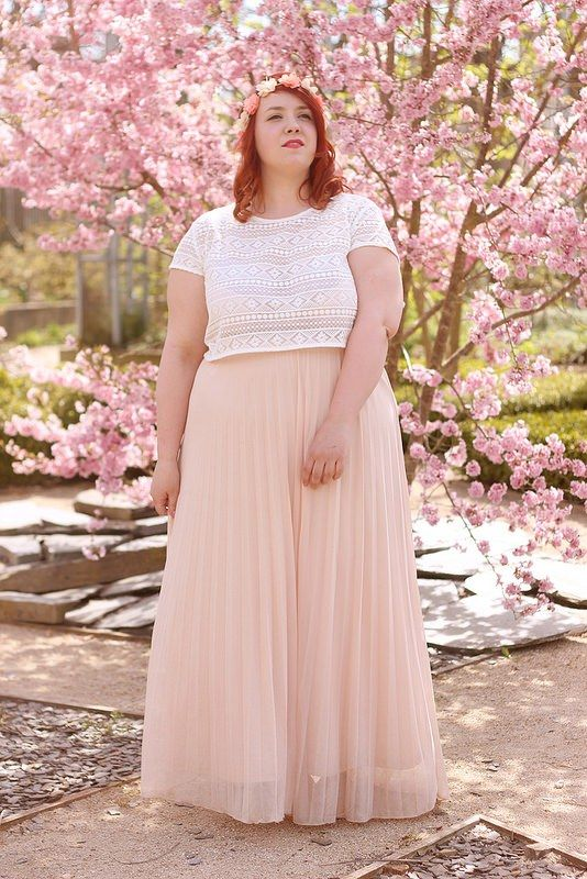 a5c54ee8c plus size outfit white top and pink chiffon maxi skirt, surrounded by  cherry blossoms