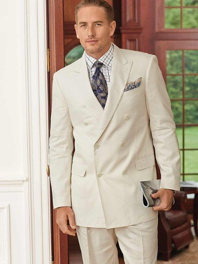 Solid Cream Linen & Cotton Double Breasted Suit from Paul Fredrick ...