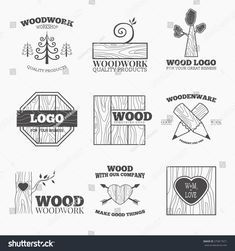 Woodworking badges logos and labels. Interesting design