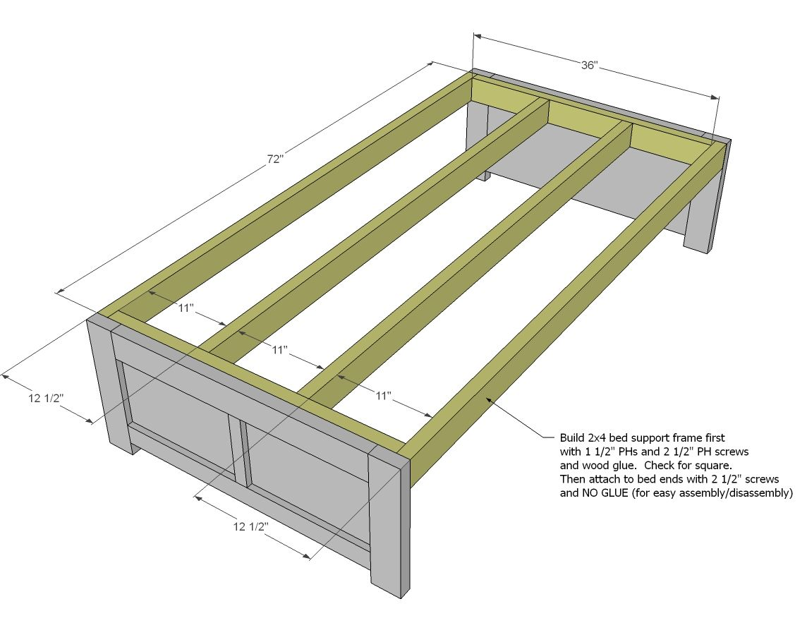 Home made sofa with trundle bed pics trundle drawers free and easy diy project and - Plans for platform bed with storage drawers ...