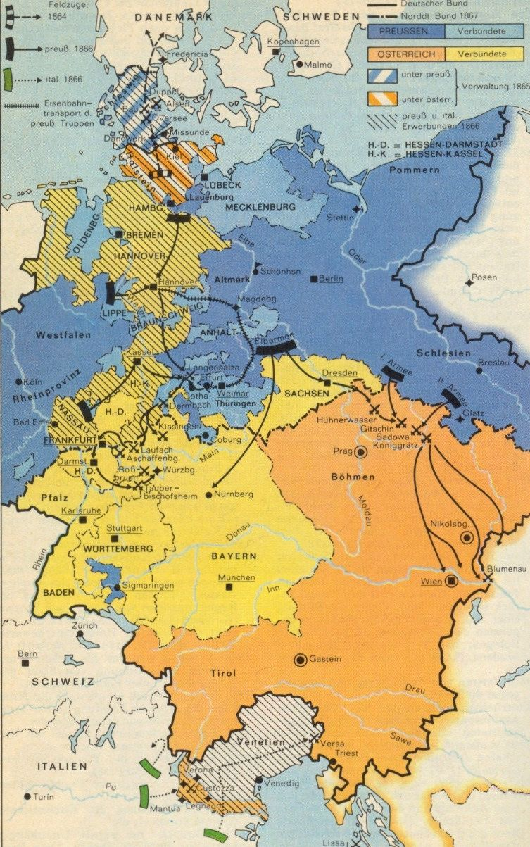 Map Of Germany Before Unification.Austro Prussian War A Struggle Between Austria And Prussia In 1866