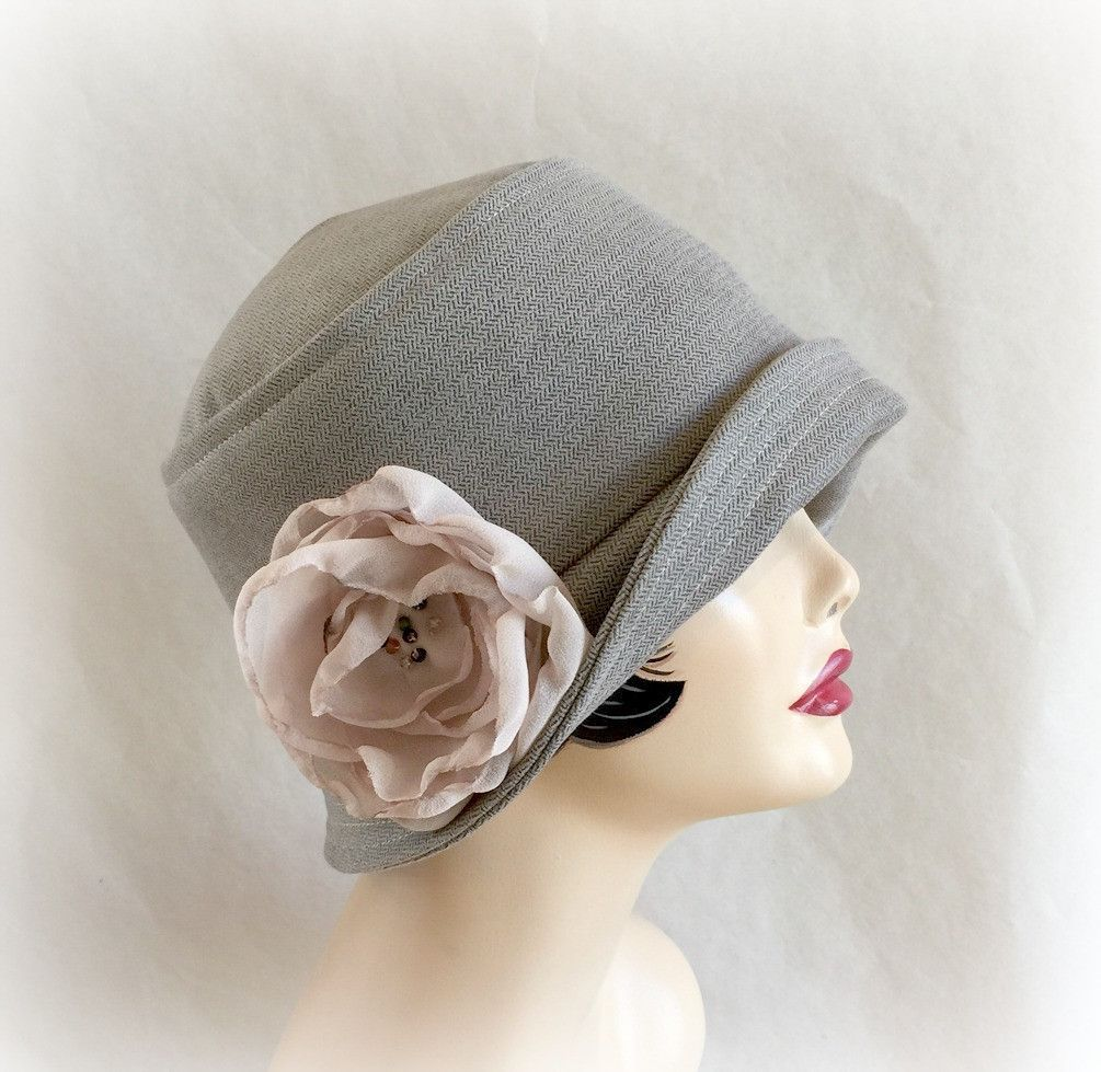 Brown velour cloche hat the eleanor with chiffon flower accessory