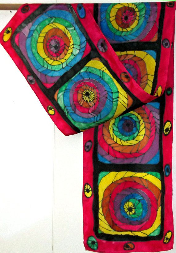 Colorful Abstract Handpainted Silk Scarf by DyeHappy on Etsy, $38.00