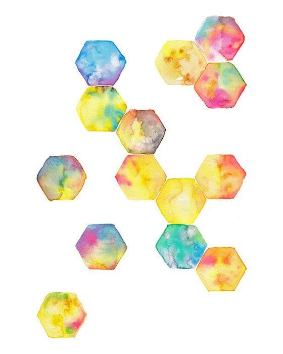 Hexagon Geometric Watercolour Art Print Yellow Blue Pink Purple
