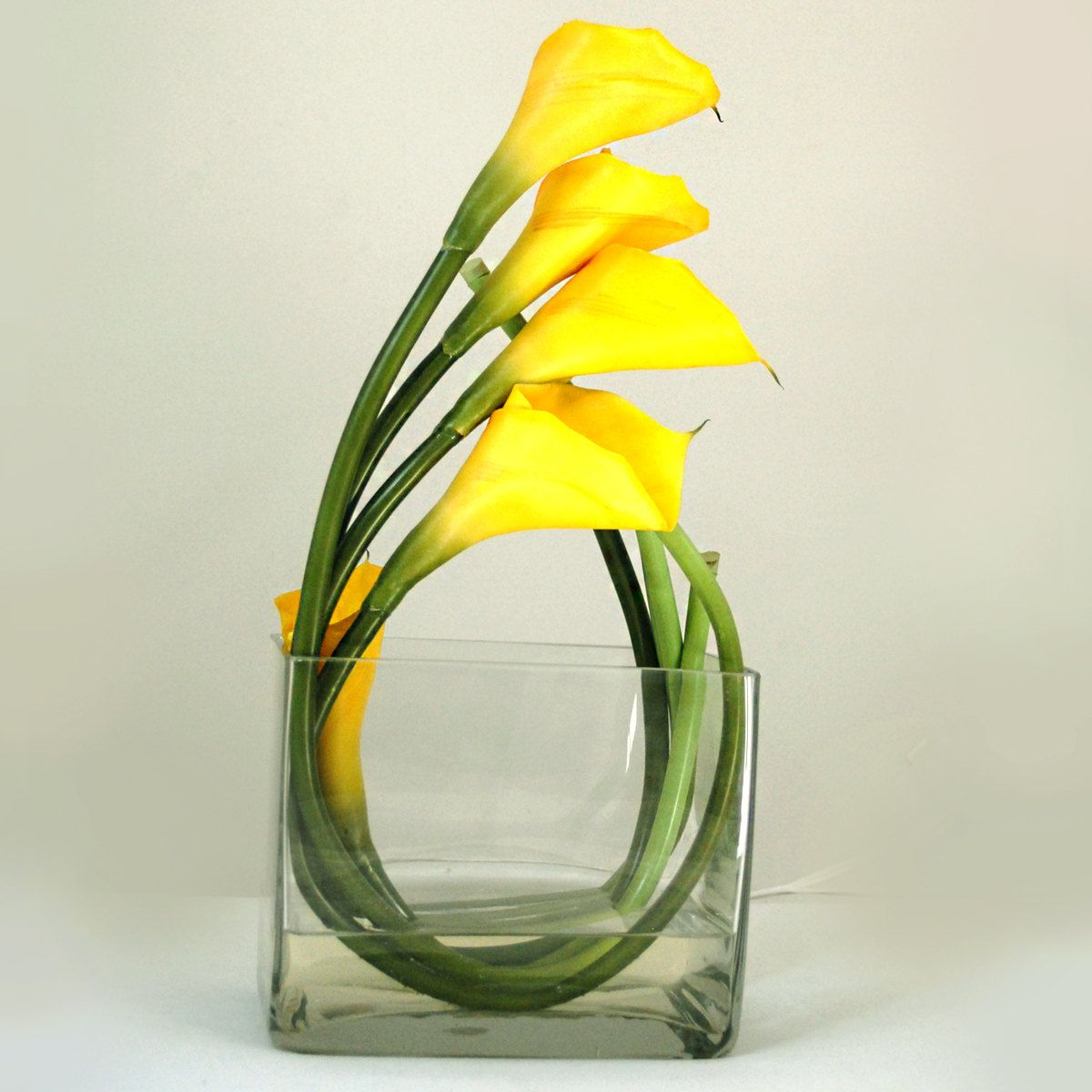 real touch yellow calla lily square glass vase artificial faux  - real touch yellow calla lily square glass vase