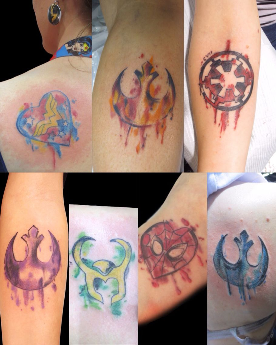 Watercolor Tattoos By Nick Puma Starwars Marvel Dc Watercolor