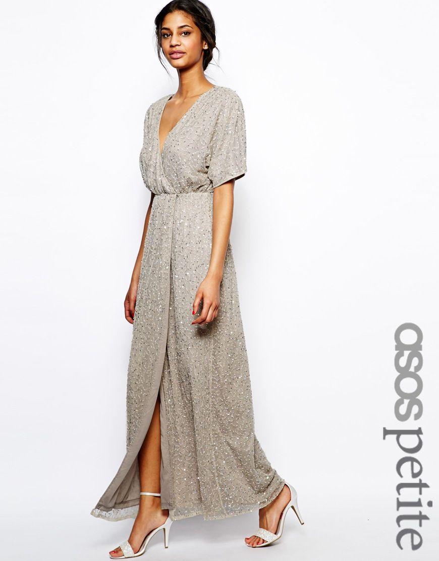 Bild 1 von ASOS PETITE – Langes Pailletten-Kleid mit Kimono-Ärmeln ...