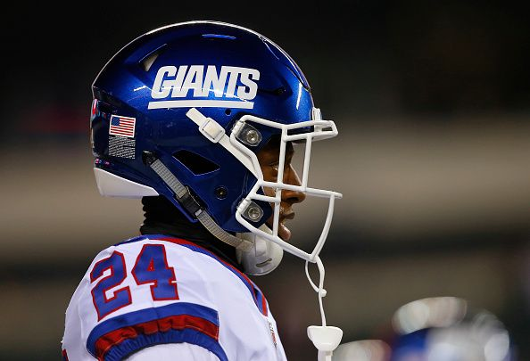 Eli Apple of the New York Giants warms up before a game against the Philadelphia Eagles at Lincoln Financial Field on December 22 2016 in...