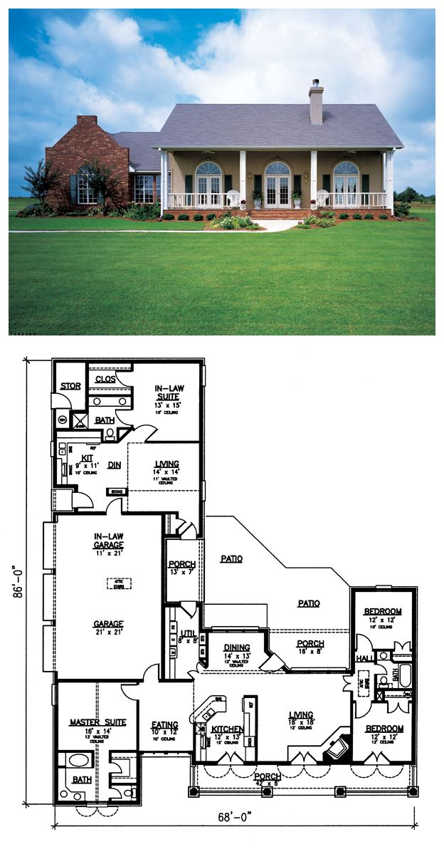 Southwest Style House Plan 98366 With 4 Bed 3 Bath 3 Car Garage Southwest House House Plans Best House Plans