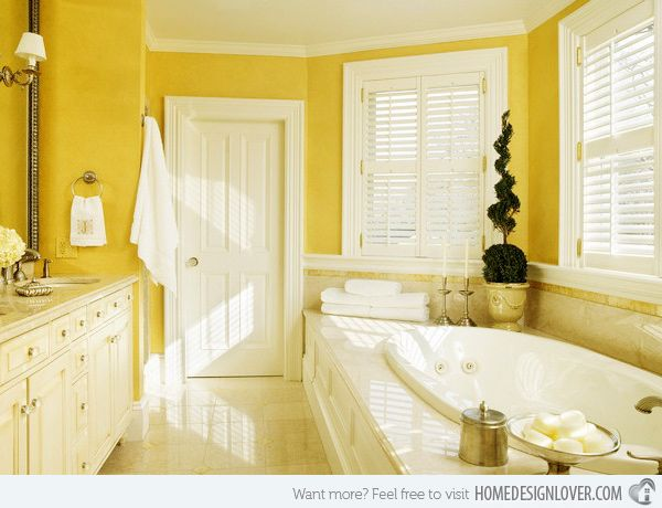 15 Charming Yellow Bathroom Design Ideas Yellow Bathrooms