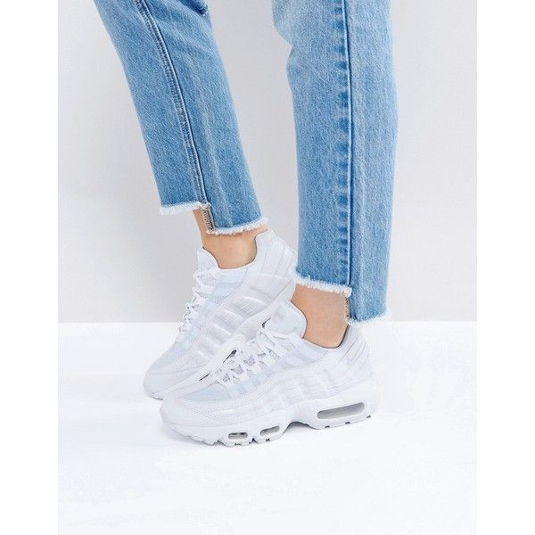 big sale 739ae 53421 Nike Air Max 95 Essential Trainers In White (€135) ❤ liked on Polyvore  featuring shoes, sneakers, white, embroidered shoes, white trainers, nike,  ...