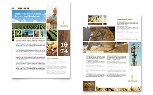 Farming  Agriculture  Datasheet Template Design  Editorial
