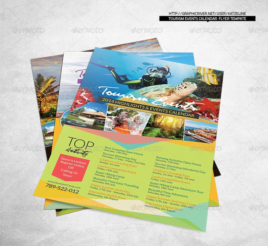 Tourism Events Calendar Flyer Template - Photoshop  Indesign