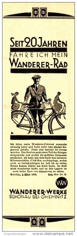 Original Werbung Anzeige 1928 Wanderer Fahrrad Chemnitz Ca