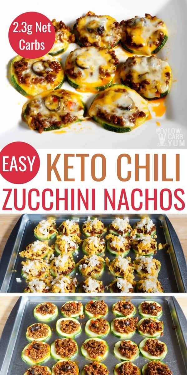 It's easy to make keto zucchini nachos baked with leftover chili. These low carb nachos make a great keto snack or appetizer that's quick to prepare. #ketorecipe #keto #lowcarb #lowcarbyum