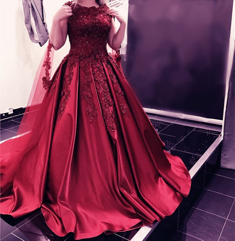 Maroon Wedding Gown: Vintage Lace Cap Sleeves Long Satin Burgundy Wedding
