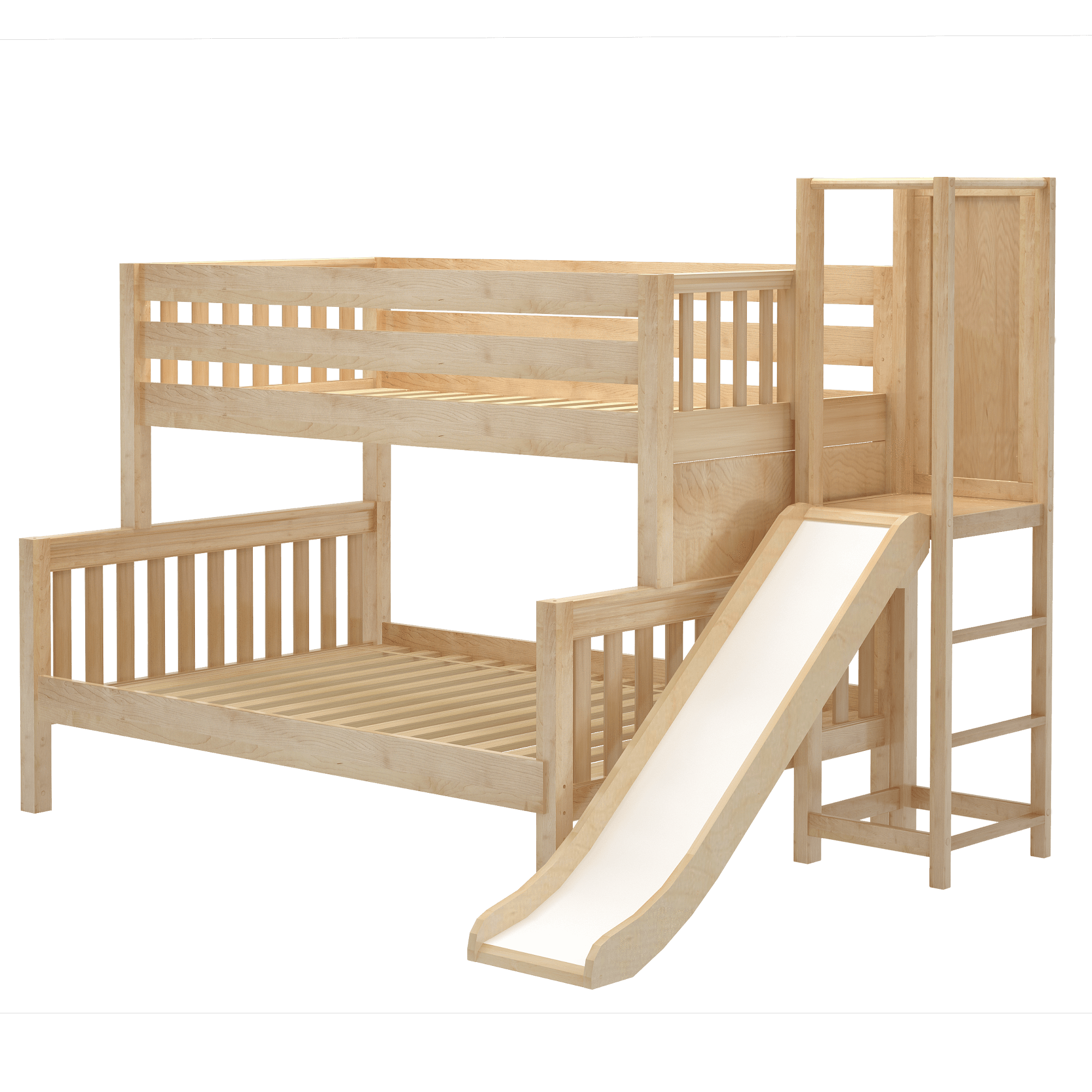 Low Twin Over Full Bunk Bed With Slide Platform In 2020 Bunk Bed With Slide Bed With Slide Bunk Bed Designs