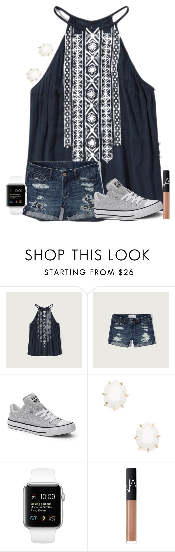 """""""heyyyy"""" by texasgirlfashion ❤ liked on Polyvore featuring Abercrombie & Fitch, Converse, Kendra Scott and NARS Cosmetics"""
