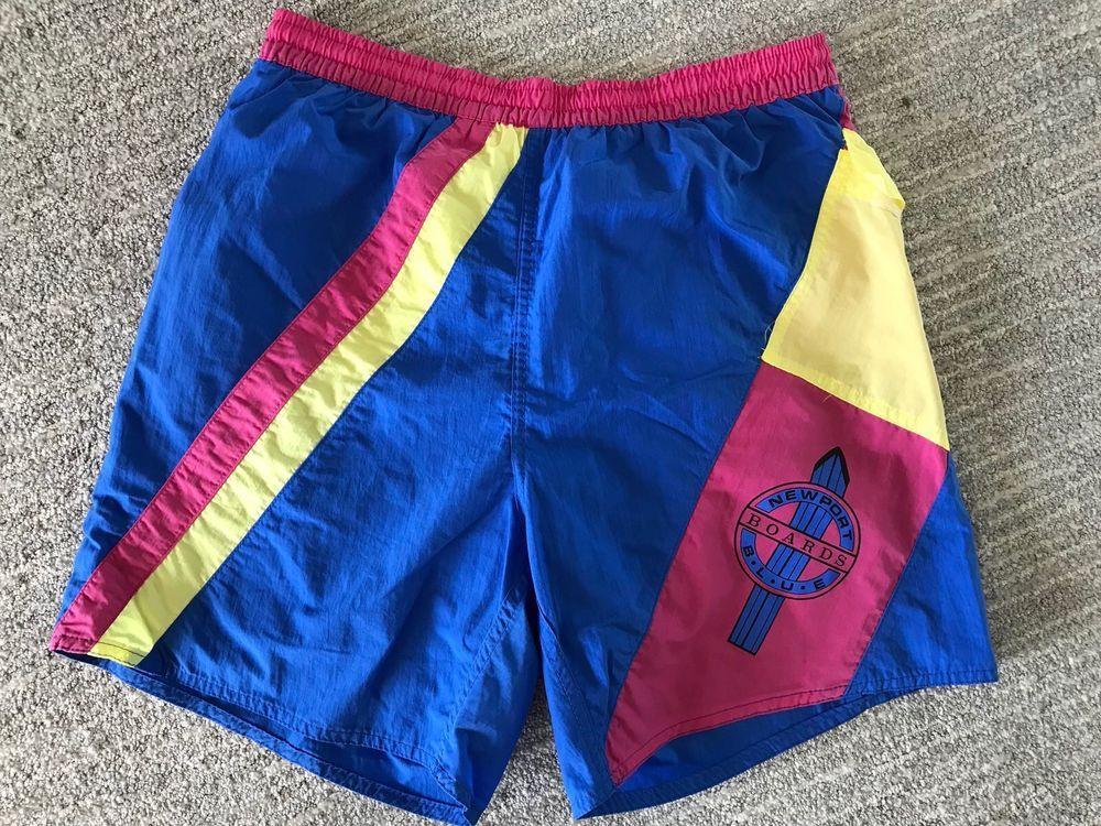 1e2174e6f7764 Vintage 80s Newport Blue Swim Trunks Lined Baggies Board Shorts Chubbies Sz  L #NewportBlue #Trunks