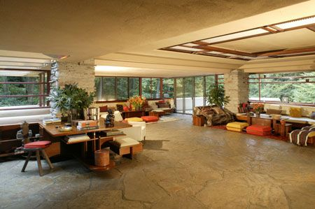 frank lloyd wright falling water - one of the first open floor