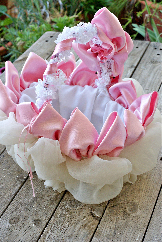 Wedding Flower Basket, Flower Girl Basket, Shabby Wedding Basket ...