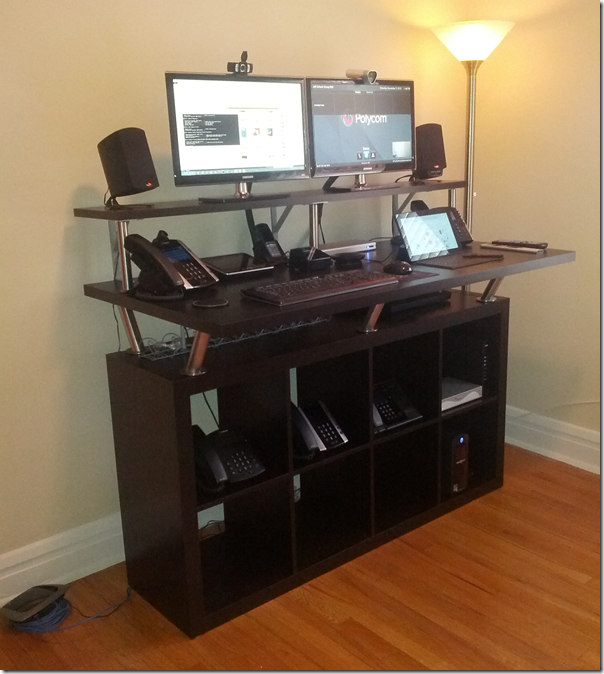 Standing computer desk from ikea parts decor diy for Mobile computer ikea