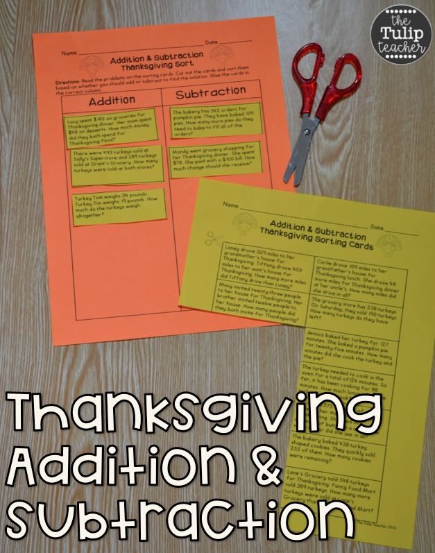 Thanksgiving Addition and Subtraction Word Problem Sort ...